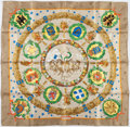 """Luxury Accessories:Accessories, Hermes 90cm Beige, Green & Yellow """"Emblemes de l'Europe,"""" byCaty Latham Silk Scarf . Excellent Condition. 36"""" Widthx..."""