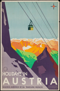 """Holidays in Austria (Austrian Federal Ministry for Commerce and Traffic, 1930s). Austrian Travel Poster (24.75"""" X 3..."""