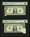 Error Notes:Foldovers, Fr. 1908-J $1 1974 Federal Reserve Note. PMG Very Fine 30;. Fr.1908-L $1 1974 Federal Reserve Note. PMG Choice About Unc ...(Total: 2 notes)