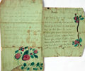 Books:Manuscripts, [Poetry]. Ann Coleman. Pair of Manuscript Acrostic Poems byColeman, with Floral Embellishments. Dated 1845 - 1846....