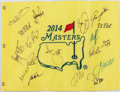 Golf Collectibles:Autographs, 2014 Masters Multi Signed Flag....