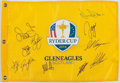 Golf Collectibles:Autographs, 2014 Ryder Cup Multi Signed Flag - With Spieth!...