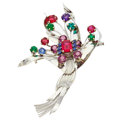 Estate Jewelry:Brooches - Pins, Amethyst, Synthetic Ruby, Synthetic Sapphire, Glass, White GoldBrooch. ...