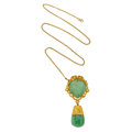 Estate Jewelry:Pendants and Lockets, Jadeite Jade, Gold Pendant-Necklace. ...
