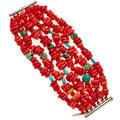 Estate Jewelry:Bracelets, Coral, Turquoise, Sterling Silver Bracelet, Rebecca Collins. ...