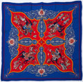 "Luxury Accessories:Accessories, Hermes 140cm Blue, Purple & Red ""Poesie Persane,"" by JuliaAbadie Silk and Cashmere Scarf. Very Good Condition. 55""Wi..."
