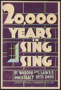 """20,000 Years in Sing Sing (First National, 1932). Trimmed Midget Window Card (8"""" X 11.75""""). Crime"""