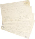 "Autographs:Celebrities, Jack Ruby Autograph Letter Signed twice and Autograph Manuscript""Jack"" in light pencil. In all, seven pages on four she...(Total: 1 Item)"