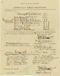 """Autographs:Military Figures, Little Big Horn: Frederick Benteen. Partly printed Document Signed Twice boldly """"F. W. Benteen"""" as Captain, 7th Cavalry,..."""