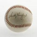 Autographs:Baseballs, Sandy Koufax Vintage Single Signed Baseball. Stunning side panelsignature courtesy of the HOFer Sandy Koufax. Vintage Raw...