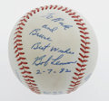 Autographs:Baseballs, 1982 Bob Lemon Single Signed Baseball from The Ricky and BruceCollection. Flawless 10/10 inscription on the side panel of ...