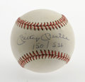 Autographs:Baseballs, Mickey Mantle Single Signed Baseball. Sweet example of the Mick'srecognizable signature offered here in blue ink on the sw...