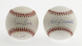 Autographs:Baseballs, Ernie Banks and Billy Williams Single Signed Baseball. Ernie Banksand Sweet Swinging Billy Williams spent thirteen seasons... (Total:2 Items)