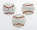 Autographs:Baseballs, Pee Wee Reese and Tommy Lasorda Single Signed Baseballs Lot of 3.Three ONL (White) baseballs have each been signed on the... (Total:3 Items)