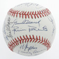 Autographs:Baseballs, Baseball Stars Multi-Signed Baseball. This OAL (Brown) baseball has been adorned with twenty-three signatures courtesy of s...