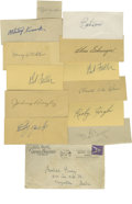 Autographs:Letters, Baseball Stars Cut Signatures Lot of 13. HOFers Chas Gehringer, BobFeller, Bob Doerr, and Bill Dickey, join players like P...