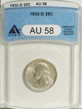 Washington Quarters: , 1932-D 25C AU58 ANACS. NGC Census: (316/802). PCGS Population(426/1522). Mintage: 436,800. Numismedia Wsl. Price for NGC/P...