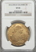 Colombia, Colombia: Ferdinand VII gold 8 Escudos 1816/4 NR-JF VF35 NGC,...