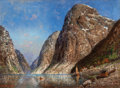 Fine Art - Painting, European:Modern  (1900 1949)  , H. F. Elmblad (Norwegian, 20th Century). Scene in theFjords. Oil on canvas. 23 x 31 inches (58.4 x 78.7 cm). Signedlow...