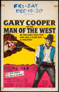"""Movie Posters:Western, Man of the West (United Artists, 1958). Window Card (14"""" X 22""""). Western.. ..."""