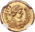 Ancients:Byzantine, Ancients: Justin II (AD 565-578). AV tremissis (17mm, 1.47 gm,6h)....