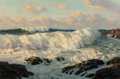 Fine Art - Painting, American:Modern  (1900 1949)  , Josef M. Arentz (American, 1903-1969). Seascape, Kennebunk,Maine. Oil on canvas. 24 x 36 inches (61 x 91.4 cm). Signed ...