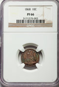 Proof Seated Dimes, 1868 10C F-104, R.3, PR66 NGC....