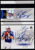 Autographs:Bats, 2003-04 SP Authentic Football Peyton Manning Signed Card Pair (2)....