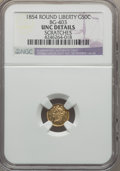 California Fractional Gold , 1854 50C Liberty Round 50 Cents, BG-403, R.7 -- Scratches -- NGCDetails. Unc....