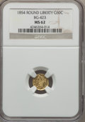 California Fractional Gold , 1854 50C Liberty Round 50 Cents, BG-423, High R.6, MS62 NGC....