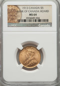Canada, Canada: George V gold 5 Dollars 1913 MS64 NGC,...