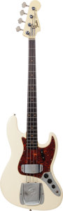 Musical Instruments:Bass Guitars, 1965 Fender Jazz Bass Olympic White Electric Bass Guitar, Serial #L03983....