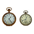 Timepieces:Pocket (post 1900), Illinois & Hamilton 19 Jewels Open Face Pocket Watch Runners.... (Total: 2 Items)