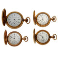 Timepieces:Pocket (post 1900), Three Waltham's & A Trenton Hunter's Case Pocket Watches Runners. ... (Total: 4 Items)