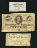 Confederate Notes:1863 Issues, T63 50 Cents 1863 PF-2 Cr. UNL.. ... (Total: 3 items)