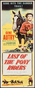 """Movie Posters:Western, Last of the Pony Riders (Columbia, 1953). Insert (14"""" X 36""""). Western.. ..."""