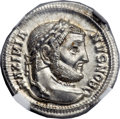 Ancients:Roman Imperial, Ancients: Galerius, as Caesar (AD 294-305). AR argenteus (19mm,3.12 gm, 11h)....