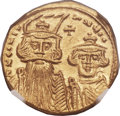 Ancients:Byzantine, Ancients: Constans II Pogonatus (AD 641-668), with Constantine IV.AV solidus (19mm, 4.36 gm, 6h)....