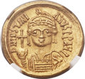Ancients:Byzantine, Ancients: Justinian I the Great (AD 527-565). AV solidus (20mm,4.43 gm, 6h)....