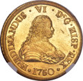 Chile, Chile: Ferdinand VI gold 8 Escudos 1750 So-J MS61 NGC,...