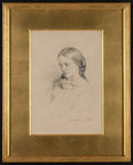 Books:Original Art, Attributed to William Bell Scott. Mrs. Josephine Butler.Graphite portrait. Artist's initials and date, 1856. Su...