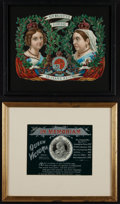 "Miscellaneous:Ephemera, Queen Victoria ""in Memoriam"" cabinet card. [together with:] HerMajesty's Glorious 50 Year's Reign, 1887, printed ... (Total: 2Items)"