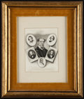 Books:Prints & Leaves, Charles Dickens. Collage of mezzotint and photogravureportraits on silk. Unknown artist. Mounted within a manila pa...