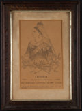 Books:Prints & Leaves, Lithograph of a micrographic portrait by J. Sofer. Victoria,Queen of England and Empress of India. Signature pr...