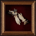 Miscellaneous:Ephemera, Pair of miniature wax hands embellished with silk and paperflowers, paper leaves and lace cuffs, unknown artist. . ...