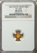 California Fractional Gold , 1865 50C Liberty Round 50 Cents, BG-1005, Low R.5, MS65 ProoflikeNGC....