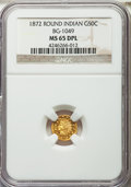 California Fractional Gold , 1872 50C Indian Round 50 Cents, BG-1049, R.4, MS65 Deep MirrorProoflike NGC....