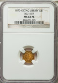 California Fractional Gold , 1870 $1 Liberty Octagonal 1 Dollar, BG-1107, R.5, MS62 ProoflikeNGC....