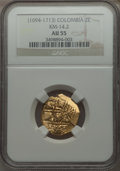 Colombia, Colombia: Charles II gold Cob 2 Escudos ND (1694-1713) AU55 NGC,...