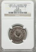 Azores, Azores: Portuguese Administration Counterstamped 300 Reis ND (1887) F12 NGC,...